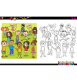 kid characters coloring book vector image