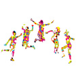 Floral patterned young people silhouettes jumping vector image