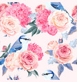 flowers and birds seamless vector image