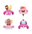 Ice cream emblems badges labels set vector image