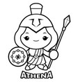 black and white goddess of war athena character vector image