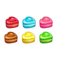 cartoon colorful cakes set vector image