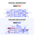flat design concept banner - digital marketing vector image