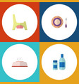 Flat icon child set of toilet baby plate tissue vector image