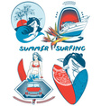 Retro Summer Surfing Icon Set vector image