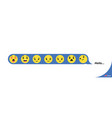 set yellow smiley icon hearts like social icon vector image