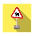Warning road sign icon in flat style isolated on vector image