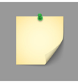 Yellow note with green push pin vector image