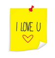 Sticky note I love you vector image vector image