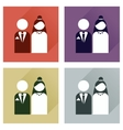 Set of flat icons with long shadow bride and groom vector image