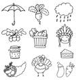 Set of thanksgiving vegetable doodles vector image
