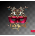 3d venetian carnival mask silhouette with vector image