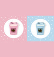 coffee paper cups set icon template pink quartz vector image
