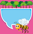 Border design with bee and trees vector image