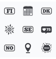 Language icons FI DK SE and NO translation vector image