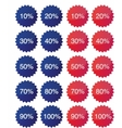 Star badges with discount numbers vector image