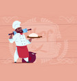 african american chef cook holding flour and dough vector image