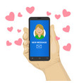 hand hold cellphone send love sms vector image