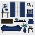 Living room furniture and accessories in navy blue vector image