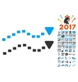 Dotted Trends Icon With 2017 Year Bonus Symbols vector image