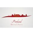 Portland skyline in red vector image