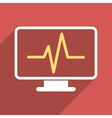 Cardiogram Monitoring Flat Long Shadow Square Icon vector image