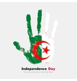 Handprint with the Algeria flag in grunge style vector image