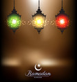 Colorful bright lamp for ramadan festival vector image