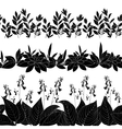Flowers and grass silhouette set seamless vector image
