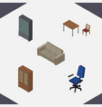 isometric design set of sideboard cabinet couch vector image