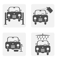 monochrome icon set with auto repair cleaning and vector image