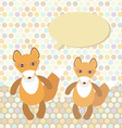 Polka dot background pattern Funny cute fox on dot vector image
