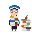 student stands and holds a large bundle of books vector image vector image