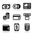 Money atm - cash mashine icons set vector image