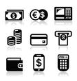 Money atm - cash mashine icons set vector image vector image