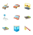 Parking area icons set cartoon style vector image
