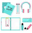 pink blue stationery set headphones vector image