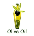 Yellow olive oil bottle with fruits and leaves vector image