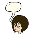 Cartoon pretty female face pouting with speech vector image