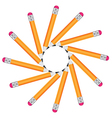 Frame of office pencils in a circle isolated on vector image