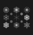 christmas snowflakes on a black background vector image
