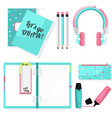 pink blue stationery set headphones vector image