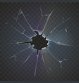 Realistic broken glass black background vector image