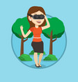 woman wearing virtual reality headset in the park vector image