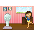 A girl holding a toothbrush and a toothpaste vector image vector image
