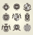 knight shields and royal coat of arms set vector image