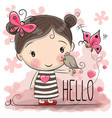 cute cartoon girl vector image