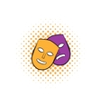 Theater masks comics icon vector image
