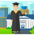 Graduate showing thumb up sign vector image
