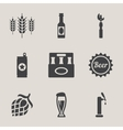 Beer icons set bottle glass vector image